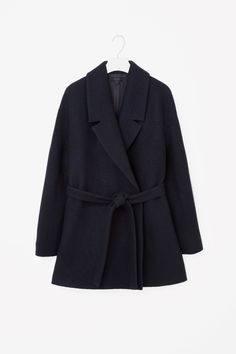 COS Short belted wool coat in Navy, 88,- Euro