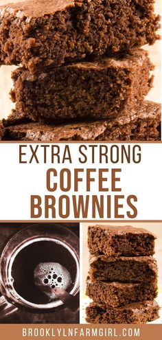 Need some caffeine? Make these extra strong coffee brownies! This is an easy recipe using strong coffee to make fudgy chocolate brownies. Coffee Brownies, Chocolate Brownies, Chocolate Flavors, Delicious Donuts, Homemade Donuts, Baking Recipes, Pastry Recipes, Dessert Dishes, Vegetarian Chocolate