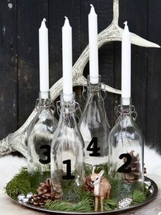 advent ideas with plain white candles