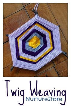 Twig weaving :: lovely autumn craft for kids. Could change up the colours to make a snowflake
