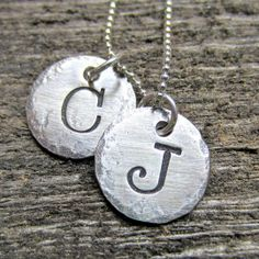 Hand stamped oxidized silver initial necklace. This one even has my initials, look at that!
