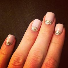 Nude with Gold Glitter half moons nail art design
