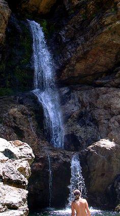 The waterfall and the pool at river Chalaris, Ikaria Island, Greece Parthenon, Acropolis, Mykonos, Santorini, Ikaria Greece, Arizona Travel, Mountain Climbing, In Ancient Times, Greek Islands