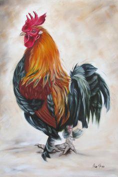 Artist Ilse KLeyn Rooster 19 Of 10 Painting  www.artofkleyn.com
