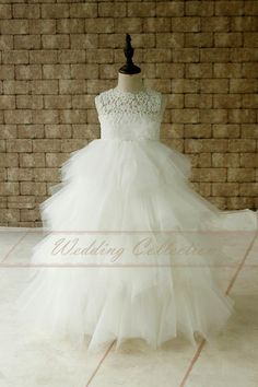 Layered Ivory Lace Tulle Flower Girl Dress With Flower Tulle Waitband Floor Length
