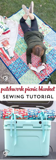 Patchwork Picnic Blanket Pattern DIY Patchwork Waterproof Picnic Blanket Pattern, an easy to sew tutorial for a picnic blanket that rolls up!DIY Patchwork Waterproof Picnic Blanket Pattern, an easy to sew tutorial for a picnic blanket that rolls up! Easy Sewing Projects, Sewing Projects For Beginners, Sewing Hacks, Sewing Tutorials, Sewing Tips, Sewing Ideas, Learn Sewing, Sewing Basics, Sewing Patterns Free