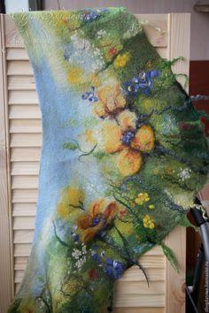 """Купить """"На солнечной поляночке"""" бактус шарф валяный - комбинированный, лето, солнце, поляна, яркий"""