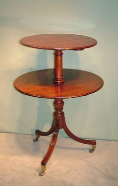Other Brave Victorian Three Tier Dumb Waiter On Casters Walnut Raised Back Shelf Casters
