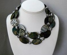 Vendita - luminoso nero labbro collana di perle con strass antico distanziali e grigio perle - Emily 1