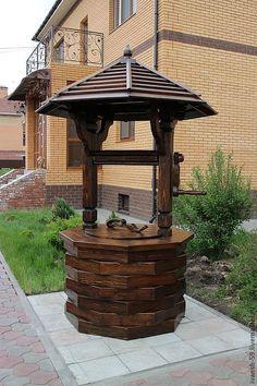Купить Колодец деревянный № 8 - коричневый, колодец, колодец из дерева, деревянный колодец
