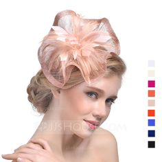 [£ Ladies' Beautiful Cambric With Feather Fascinators/Tea Party Hats - JJ's House Event Dresses, Wedding Party Dresses, Classic Hats, Polo Classic, Black Fascinator, Cheap Fashion Jewelry, Summer Hats For Women, Tea Party Hats, Queen