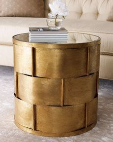 woven antiqued gold side table, $559