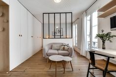 m apartment interior. Tiny Studio Apartments, Small Apartment Design, Apartment Interior, Home Living Room, Living Spaces, Casa Loft, Mini Loft, Sala Grande, Interior Architecture