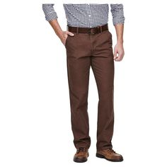 Haggar H26 - Straight Fit Original Chino Pants Tobacco (Black) 38X32