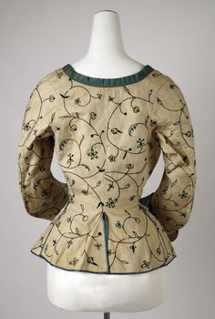 Embroidered Linen Jacket with Silk Trim (back view)  - c 1600-1625