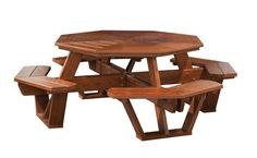 Amish Cedar Wood Octagon Picnic Table Seats up to 8. Benches are attached. Made with cedar wood that is low maintenance and repels insects. Available at DutchCrafters. #AmishMadeInIndiana