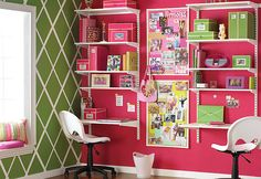 Homework Station: If space is a concern, consider going double-sided. This workspace, made from a bookcase, some fiberboard, and two pairs of legs, barely takes up any floor space. If the idea of another piece of furniture in the room sounds a bit cramped, consider building the desk right into the wall. A carefully planned shelving unit can serve as a homework area too.
