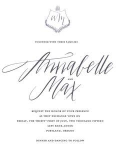 Custom calligraphy wedding invitation (as pictured) digital file. $80.