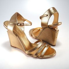 Chanel Leather With Pearl Gold Wedges. Get the must-have wedges of this season! These Chanel Leather With Pearl Gold Wedges are a top 10 member favorite on Tradesy. Save on yours before they're sold out!