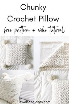 DIY Chunky Crochet Pillow with Pom Poms. Learn how to crochet an easy pillow for your home with this free crochet pattern + guided video tutorial. #diychunkypillow #chunkycrochetpillow #crochetpillow #pompoms