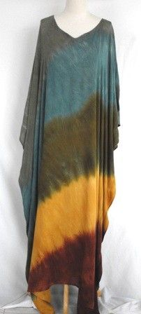 Tie Dye Caftan in Earthy Greens and Browns
