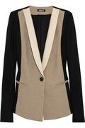 leather trimmed color-block woven blazer