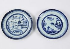 2 EARLY BLUE AND WHITE CANTONESE PORCELAIN PLATES