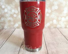 Firefighter Maltese Emblem Powder Coated Yeti-Style Tumbler / Firefighter Cup / Custom Yeti-Style Tumbler / Personalized Cup / HOGG by GlitterandCoGifts on Etsy