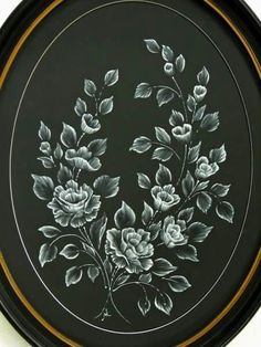Roses Mirror Frame done with MUD texture painting. Lace Painting, One Stroke Painting, Texture Painting, Wildflower Drawing, Mud Paint, Brush Embroidery, Black Paper Drawing, Rose Sketch, Paint Cards