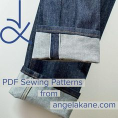 Selvedge Jeans PDF sewing pattern and sew alongs. Buy the pattern if you are not a member. All my video tutorials and sew alongs are free Pdf Sewing Patterns, Clothing Patterns, Sewing Jeans, Sewing Lessons, Sewing Basics, Fashion Sewing, Sewing Techniques, Blue Jeans, Video Tutorials