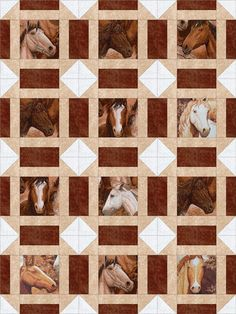 Our quilt kit is already precision pre-cut for accuracy. This country western easy quilt kit has a variety of fussy cut wild horse portraits, you will receive a variety of these horses. We added a mar