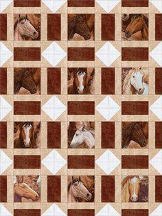 Horses Portraits Western Block Cowboy Quilt, Cute Quilts, Baby Quilts, Animal Quilts, Quilt Block Patterns, Quilt Blocks, Patchwork, Grow Kit, I Spy Quilt