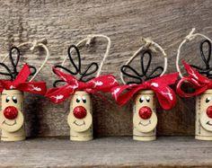 Set de 4 adornos de renos corcho del vino por ReconditionaILove