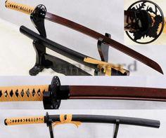 HAND FORGED DAMSCUS RED FOLDED STEEL JAPANESE SAMURAI WAKIZASHI SWORD