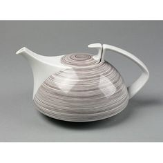 Walter Gropius (1883-1969), German / Rosenthal 'TAC' shape teapot in dome shape with upward spout, lid held on by right angle hook or handle for thumb while pouring, transfer-printed uneven and closely drawn brown lines circling the body of glazed white porcelain, c. 1988-1969, Germany / Victoria and Albert Museum, London, UK