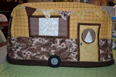 Vintage Caravan Sewing Machine Cover in browns and yellow. by BaaStreet on Etsy