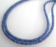 Gem Blue Sapphire 3mm Smooth Rondelle Beads 14 inch strand $48.00