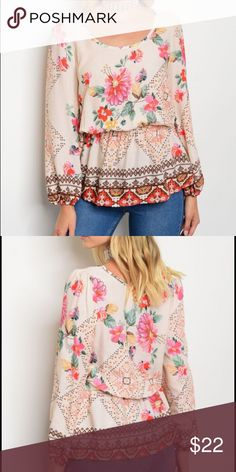 Ivory scoop neck multi-color floral top Ivory scoop neck multi-color floral top. Slight elastic gather at the waist that gives this top a slender looking shape while still being wispy and BOHO style. For my free spirited ladies who embrace that feminine look but can't be bound in any way.  Long loose sleeves so y'all can wear it as the sun starts to set and not get chilly. I can honestly say the pictures don't do this beautiful blouse justice. ❤️❤️❤️ Tops Blouses