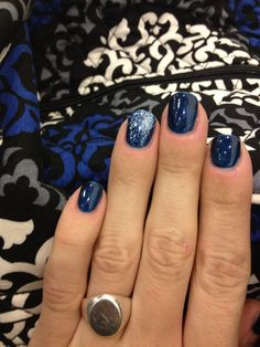 "Winter blue shellac with silver glitter accent! CDN color: ""Midnight Swim"" #EGSalon #verabradley"