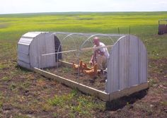 Great Chicken Tractor Plans from Working Wings.com Cannot wait to repurpose my metal sheets and conduit into some of these!