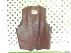 Mens Leather Vest The Leather Shop Sears by ZasuVintage on Etsy