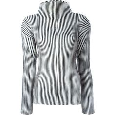 Issey Miyake Vintage Striped Pleat Top (565 CAD) ❤ liked on Polyvore featuring tops, black, striped top, issey miyake, stripe top, pleated top and long sleeve tops