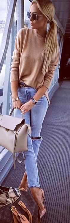 #winter #outfits  brown sweater, blue denim distressed jeans and pink d'Orsay stilettos outfit. Pic by @chicnchic_factory.