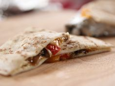 Campfire Quesadillas: Vegetable and Goat Cheese Quesadillas plus Cheese Quesadillas from Ree Drummond | Food Network. Note: Uses pickled jalapeno slices.
