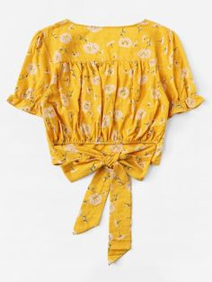 Dandelion Print Knot Back BlouseFor Women-romwe Choli Designs, Blouse Designs, Stitching Dresses, Cute Rompers, Cute Fashion, Pattern Fashion, Dress To Impress, Blouses For Women, Nice Dresses