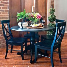 How about painted blue table and chairs, oak buffet just as it is? Carolina Cottage Dining Table from Wayfair