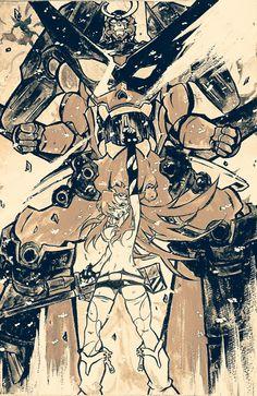 Gurren Lagann Kamina, Gurren Laggan, Yoko Littner, Pose, Fairy Tail Ships, Mecha Anime, Alien Art, Monochrom, Manga Comics