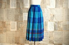 vintage 70s plaid pleated skirt xs. $36.00, via Etsy.