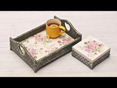Decoupage zestaw ogrodowy z tacą - DIY tutorial - YouTube