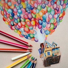 up movie inspired, coloured pencils sketch, easy drawings step by step, many colourful balloons drawings creative ▷ 1001 + ideas for cool things to draw - photos and tutorials Easy Pencil Drawings, Art Drawings Sketches, Disney Drawings, Cool Drawings, Coloured Pencil Drawings, Demon Drawings, Up House Drawing, Pencil Drawing Inspiration, Color Pencil Sketch
